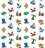 marine and fishing seamless pattern Royalty Free Stock Images