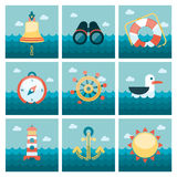 Marine flat icons set Royalty Free Stock Photo