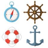 Marine Flat Vector Set Isolated on White. Marine nautical sea ocean set. Steering wheel, lifebuoy, compass, anchor. Flat style vector color illustration isolated Royalty Free Stock Image