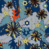 Marine Flowers Colorful Seamless Pattern Stock Photography