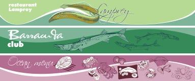 Marine Food Horizontal Banners tirée par la main Photographie stock libre de droits