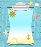 Marine frame with anchor wheel  shells starfishes Stock Photo