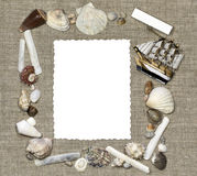 Marine frame with isolate card Royalty Free Stock Photos