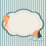 Marine frame. With seahorse and boat on striped background Stock Photography