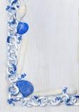 Marine frame white-blue color, corner Royalty Free Stock Photo