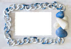 Marine frame white-blue color spectrum with isolate card Royalty Free Stock Photography