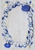 Marine frame white-blue color spectrum with seahorses Stock Photos