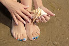 Marine French manicure and pedicure with blue and orange stripes on short nails on the coast stock image