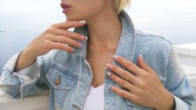 Marine French nail designs . stock images