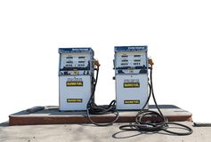 Marine Gas Pumps op witte achtergrond stock afbeelding