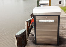 Marine gasoline pump in harbor with rain Stock Photos