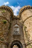 Marine Gate Sea Gate Rhodes gammal stad, Grekland Arkivbild