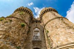 Marine Gate Sea Gate Rhodes gammal stad, Grekland Arkivfoto