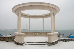 Marine gazebo and snow in Pomorie, Bulgaria royalty free stock photos