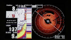 Marine GPS and sonar stock footage