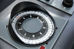 Marine gyro compass repeater. On modern ship control panel royalty free stock photos