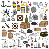 Marine hand painted symbols Royalty Free Stock Image