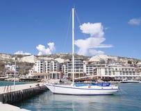Marine harbor with boas in town Balchik, Bulgaria Stock Image