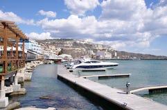 Marine harbor with boats in town Balchik, Bulgaria Royalty Free Stock Photos