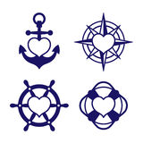 Marine heart icon set of anchor and compass Stock Images
