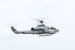 Marine helicopter. In cloudy sky royalty free stock image