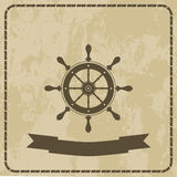 Marine helm steering wheel on grunge background Royalty Free Stock Photos