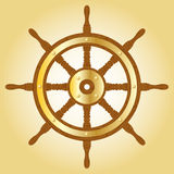 Marine helm. Steering wheel. Wooden marine helm with metallic golden circle Stock Photography