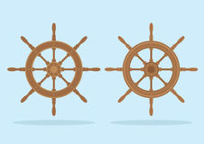 Marine helm, Two styles of steering wheel  Stock Photography