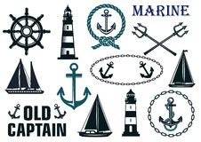Marine heraldic elements set Stock Photo
