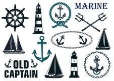 Marine heraldic elements set vector illustration