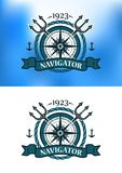 Marine heraldic label Stock Images