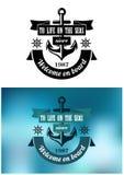 Marine heraldic label Royalty Free Stock Images