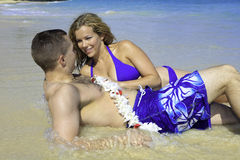Marine and his wife at the beach Stock Photos