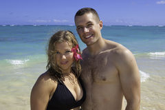Marine and his wife at the beach Stock Image