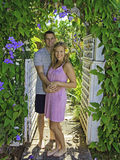 Marine and his wife in a garden Royalty Free Stock Photos
