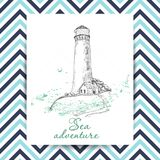 Marine Holidays cards with Lighthouse. Vector illustration for your design royalty free illustration