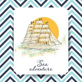 Marine Holidays cards with ship. Vector illustration for your design royalty free illustration