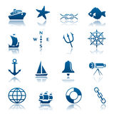 Marine icon set. Set of blue marine icons Royalty Free Stock Images