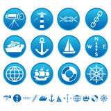 Marine icons. Set of blue marine icons Stock Photography