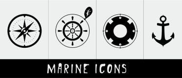 Marine icons. Compass, rudder, lifebuoy, anchor minimalistic style Stock Images