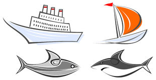 Marine icons - ocean liner, yacht, shark and fish Stock Images