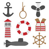 Marine Icons Set Lizenzfreie Stockbilder