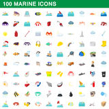 100 marine icons set, cartoon style Stock Photos