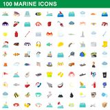 100 marine icons set, cartoon style stock illustration
