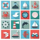 Marine icons. Set of 16 marine icons. Flat design Stock Illustration