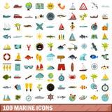100 marine icons set, flat style. 100 marine icons set in flat style for any design illustration royalty free illustration
