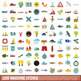 100 marine icons set, flat style. 100 marine icons set in flat style for any design vector illustration vector illustration