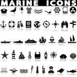 Marine icons set stock photography