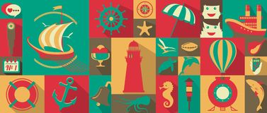 Marine icons. Set of marine icons in retro style Stock Photography