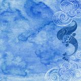 Marine illustration with cartoon mermaid and waves on a blue wat Stock Photos